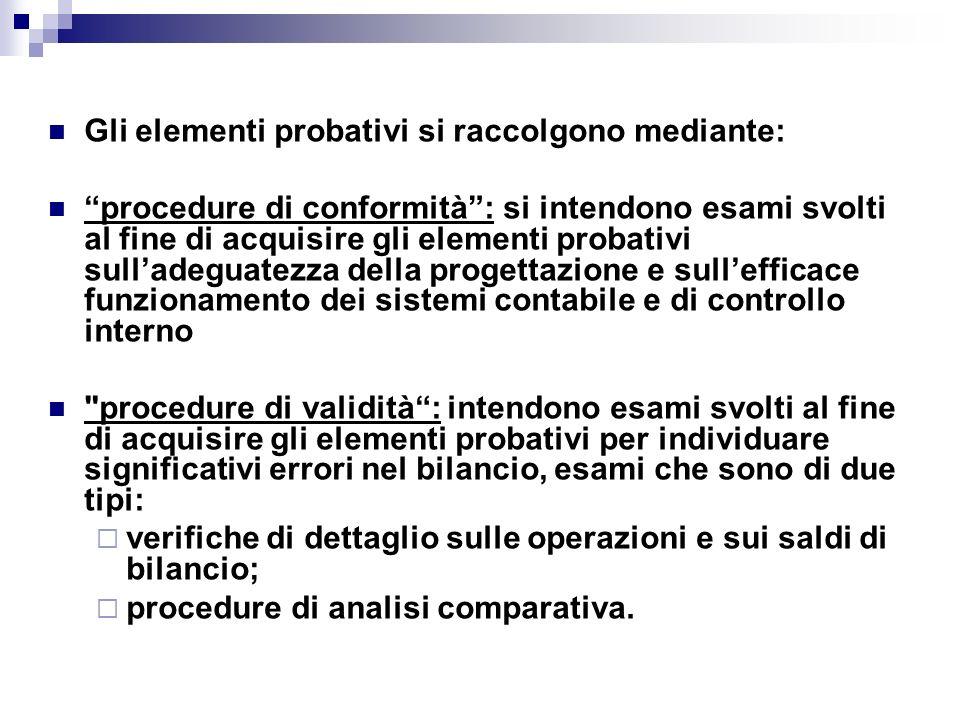 Gli elementi probativi si raccolgono mediante: procedure di conformità: si intendono esami svolti al fine di acquisire gli elementi probativi sulladeg