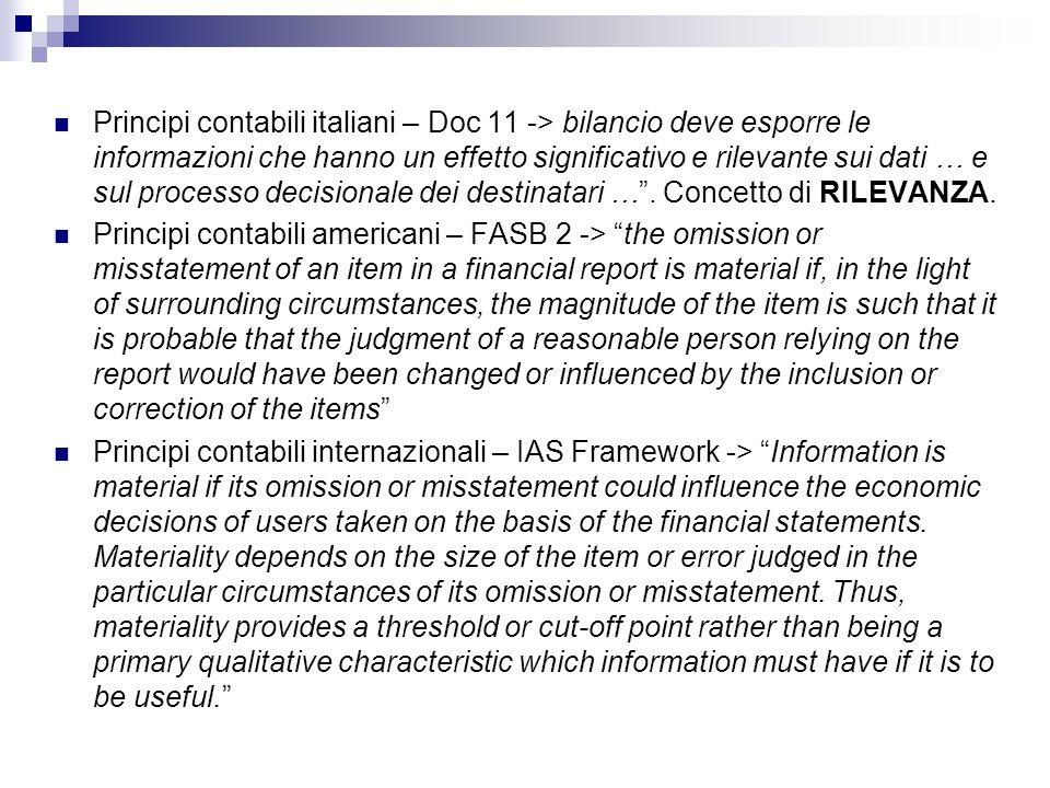 Principi contabili italiani – Doc 11 -> bilancio deve esporre le informazioni che hanno un effetto significativo e rilevante sui dati … e sul processo
