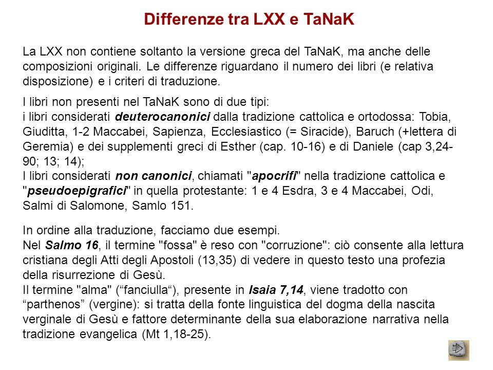 Differenze tra LXX e TaNaK La LXX non contiene soltanto la versione greca del TaNaK, ma anche delle composizioni originali. Le differenze riguardano i