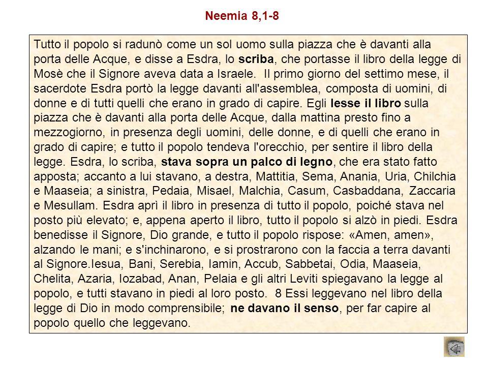 Tutto il popolo si radunò come un sol uomo sulla piazza che è davanti alla porta delle Acque, e disse a Esdra, lo scriba, che portasse il libro della