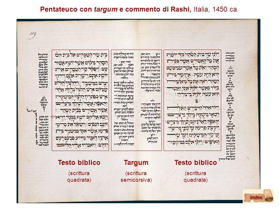 Pentateuco con targum e commento di Rashi, Italia, 1450 ca. Testo biblico (scrittura quadrata) Testo biblico (scrittura quadrata) Targum (scrittura se