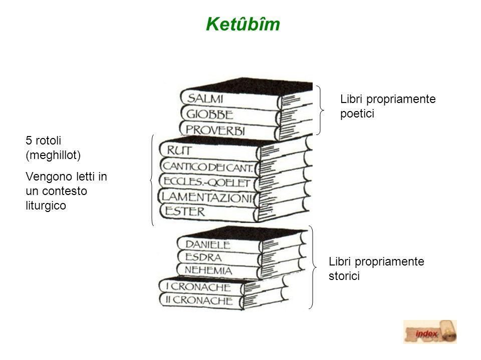 Ketûbîm Libri propriamente poetici 5 rotoli (meghillot) Vengono letti in un contesto liturgico Libri propriamente storici
