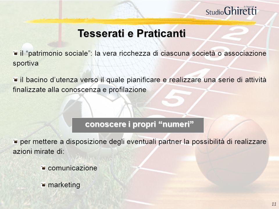 11 Tesserati e Praticanti il patrimonio sociale: la vera ricchezza di ciascuna società o associazione sportiva il bacino dutenza verso il quale pianif