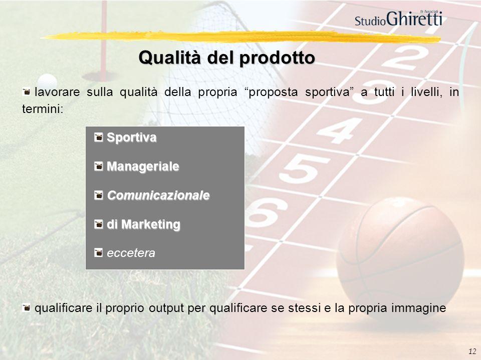 12 Qualità del prodotto lavorare sulla qualità della propria proposta sportiva a tutti i livelli, in termini: Sportiva Sportiva Manageriale Managerial