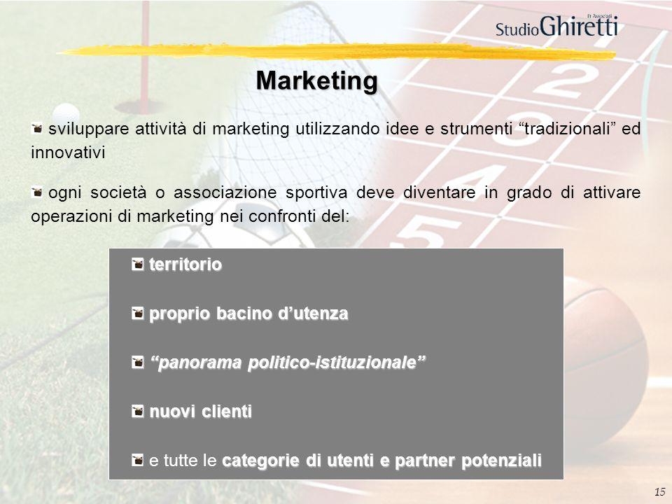 15 Marketing sviluppare attività di marketing utilizzando idee e strumenti tradizionali ed innovativi ogni società o associazione sportiva deve divent