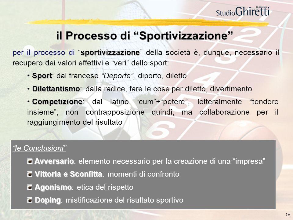 16 il Processo di Sportivizzazione sportivizzazione per il processo di sportivizzazione della società è, dunque, necessario il recupero dei valori eff