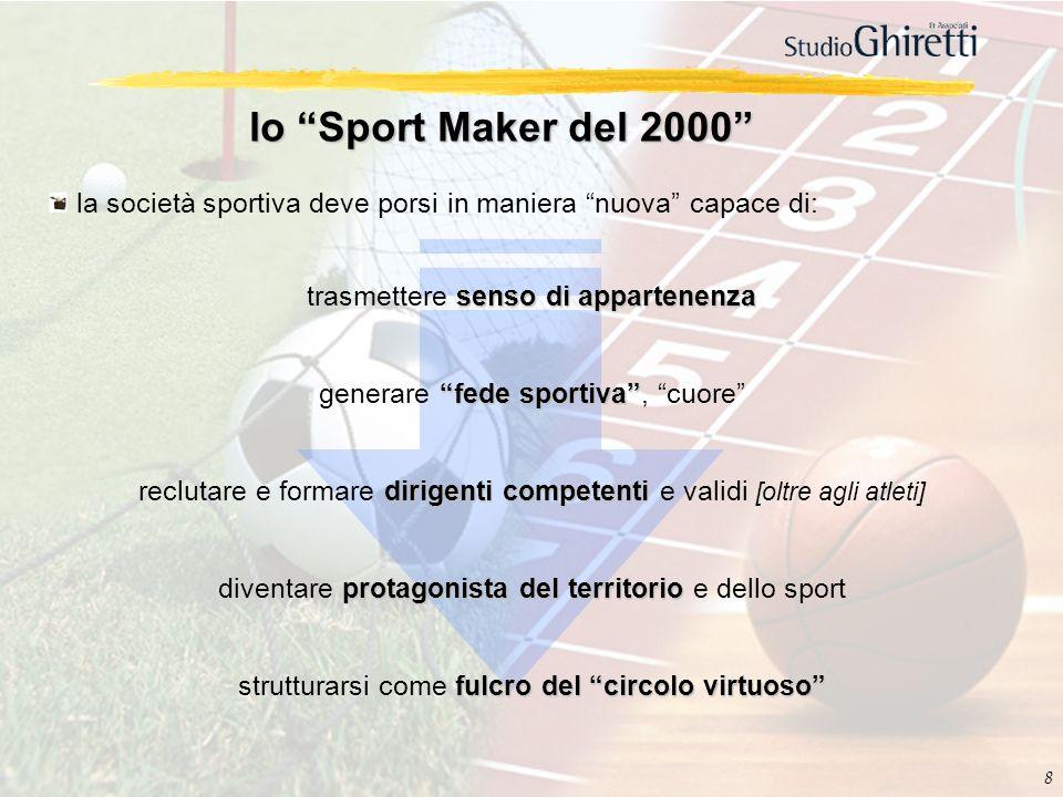 8 lo Sport Maker del 2000 la società sportiva deve porsi in maniera nuova capace di: senso di appartenenza trasmettere senso di appartenenza fede spor