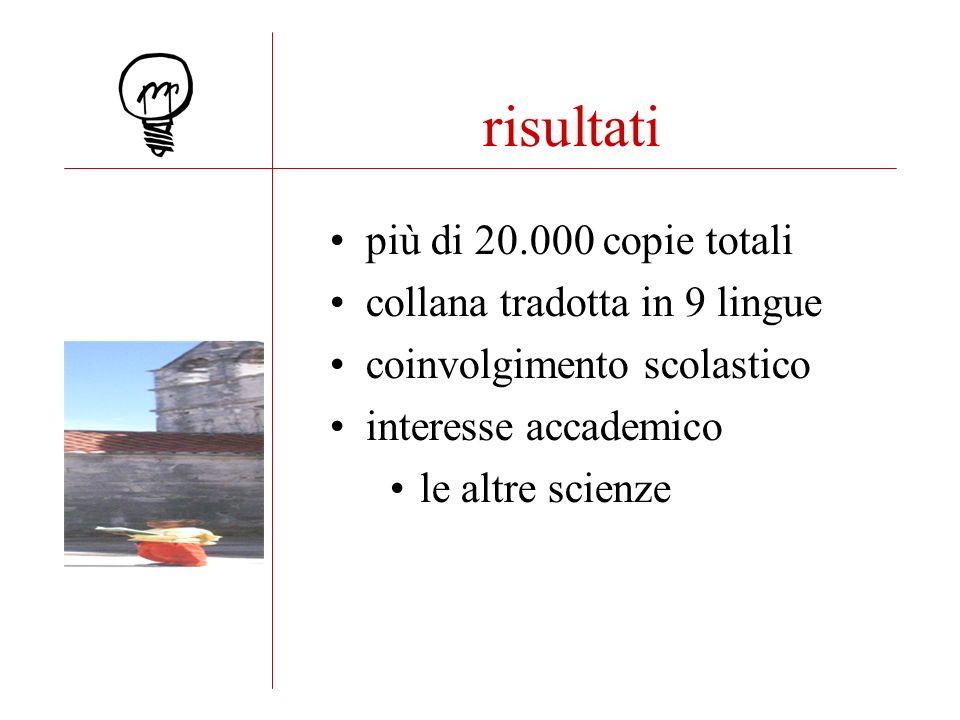 risultati più di 20.000 copie totali collana tradotta in 9 lingue coinvolgimento scolastico interesse accademico le altre scienze