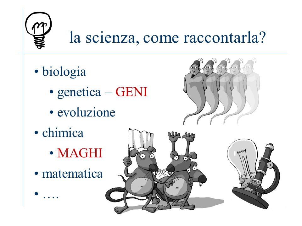 la scienza, come raccontarla biologia genetica – GENI evoluzione chimica MAGHI matematica ….