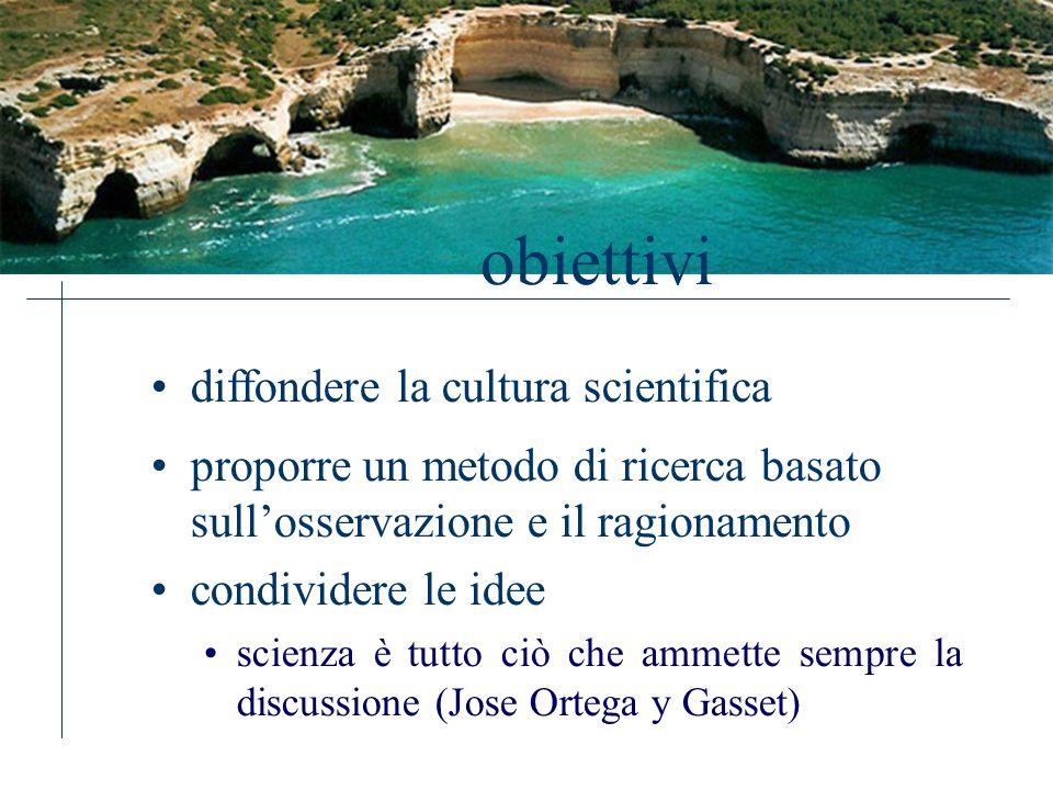 obiettivi proporre un metodo di ricerca basato sullosservazione e il ragionamento condividere le idee scienza è tutto ciò che ammette sempre la discussione (Jose Ortega y Gasset) diffondere la cultura scientifica