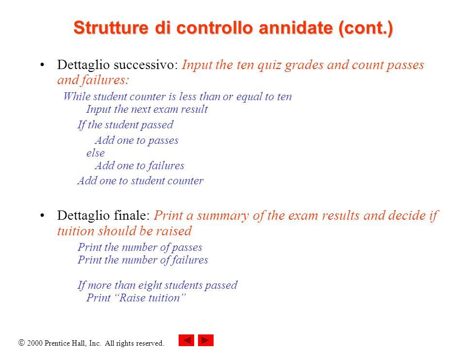 2000 Prentice Hall, Inc. All rights reserved. Strutture di controllo annidate (cont.) Dettaglio successivo: Input the ten quiz grades and count passes