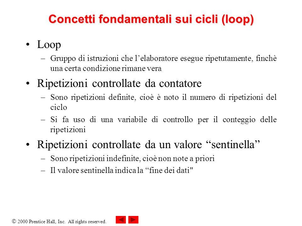 2000 Prentice Hall, Inc. All rights reserved. Concetti fondamentali sui cicli (loop) Loop –Gruppo di istruzioni che lelaboratore esegue ripetutamente,