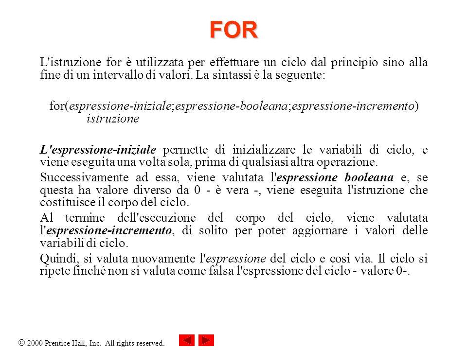 2000 Prentice Hall, Inc. All rights reserved. FOR L'istruzione for è utilizzata per effettuare un ciclo dal principio sino alla fine di un intervallo
