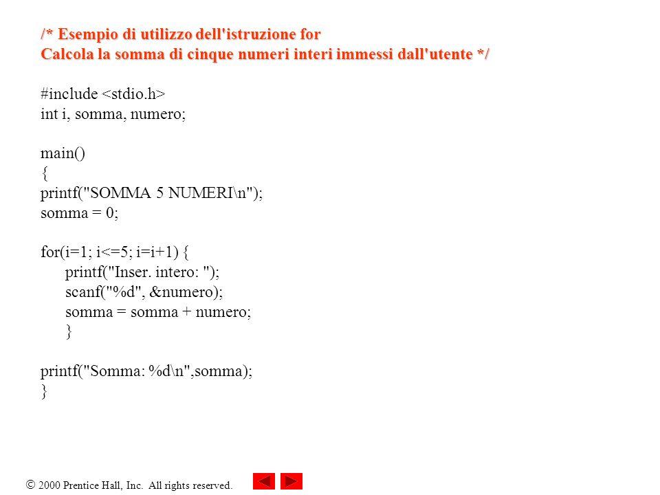 2000 Prentice Hall, Inc. All rights reserved. /* Esempio di utilizzo dell'istruzione for Calcola la somma di cinque numeri interi immessi dall'utente
