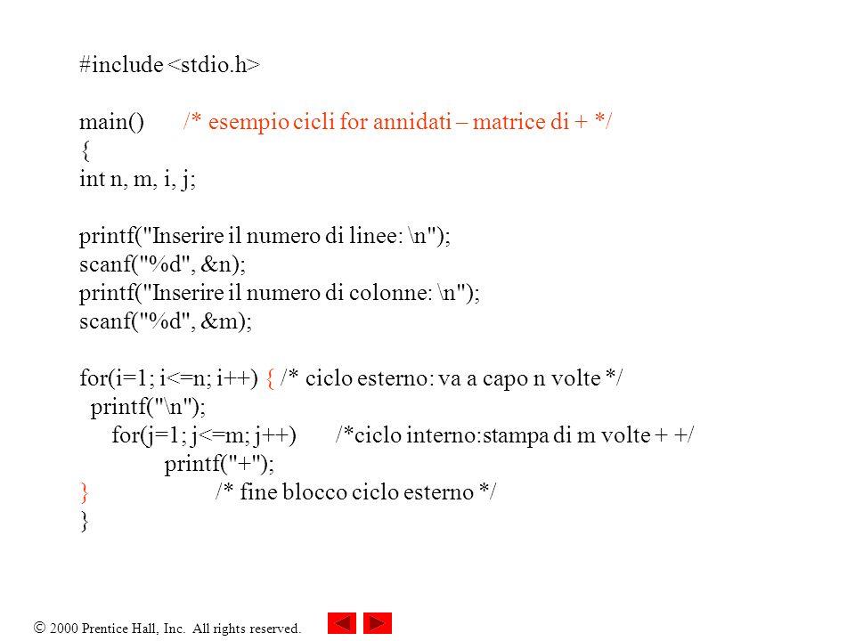 2000 Prentice Hall, Inc. All rights reserved. #include main() /* esempio cicli for annidati – matrice di + */ { int n, m, i, j; printf(