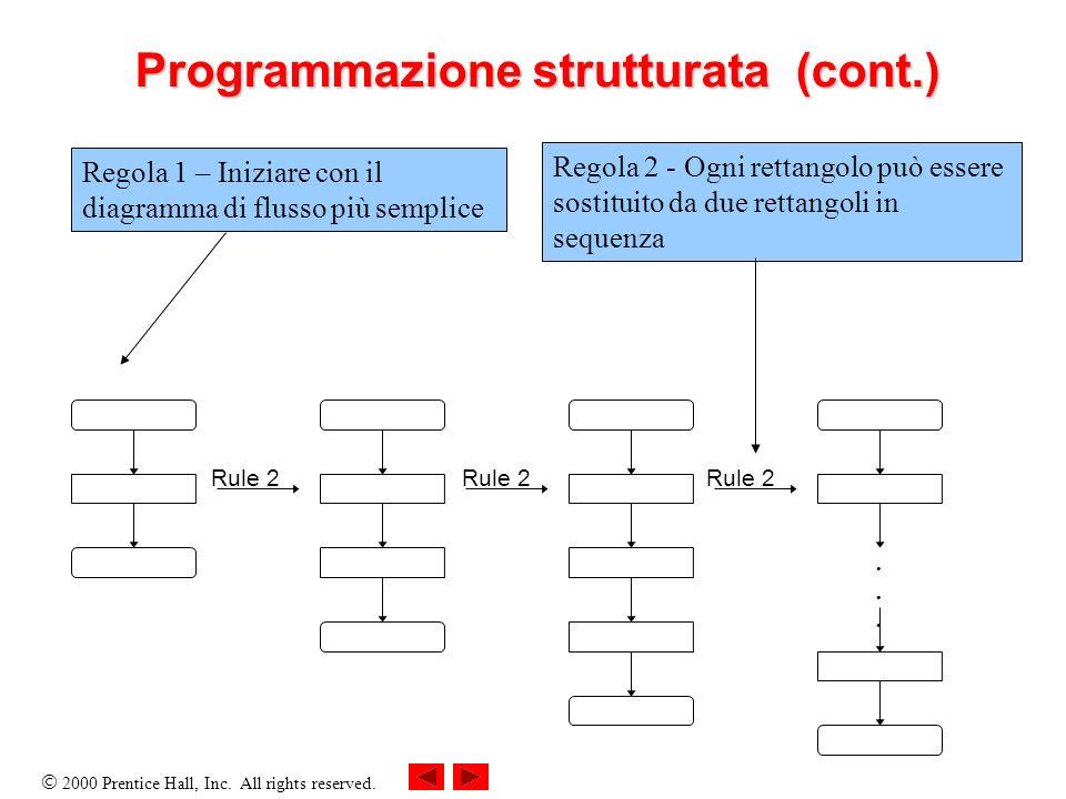 2000 Prentice Hall, Inc. All rights reserved. Programmazione strutturata (cont.)...... Rule 2 Regola 1 – Iniziare con il diagramma di flusso più sempl