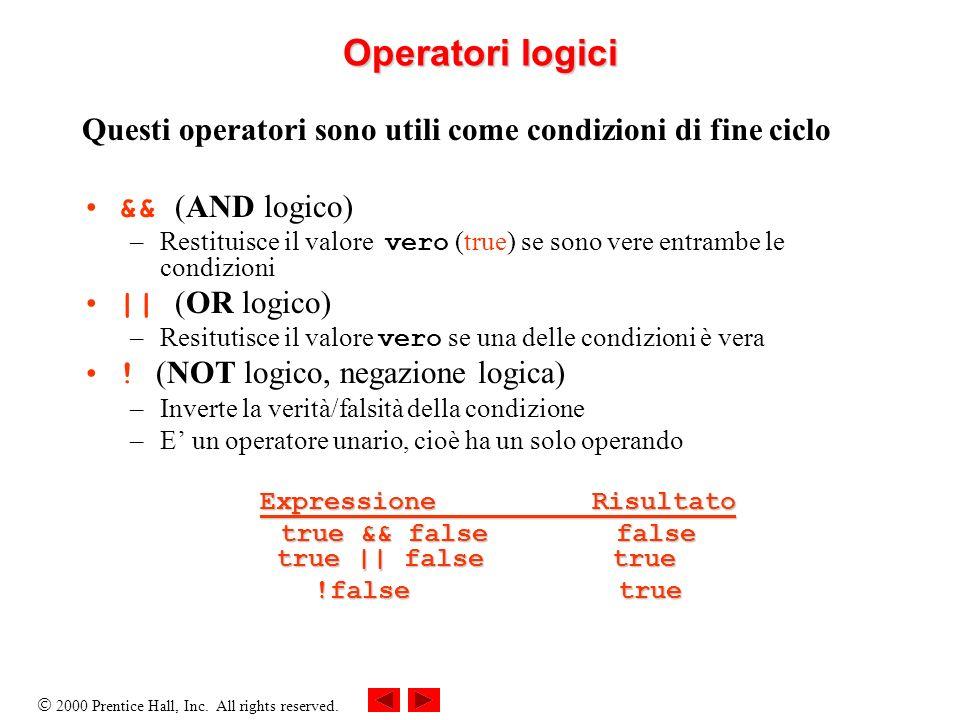 2000 Prentice Hall, Inc. All rights reserved. Operatori logici Questi operatori sono utili come condizioni di fine ciclo && (AND logico) –Restituisce