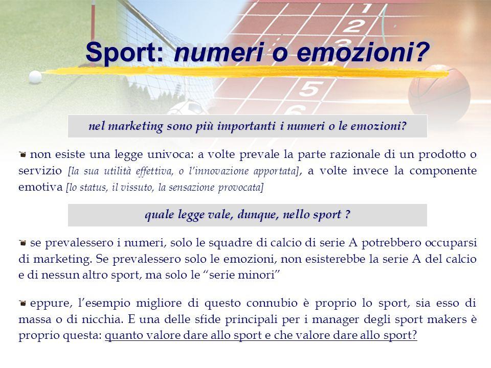 Sport: numeri o emozioni. nel marketing sono più importanti i numeri o le emozioni.