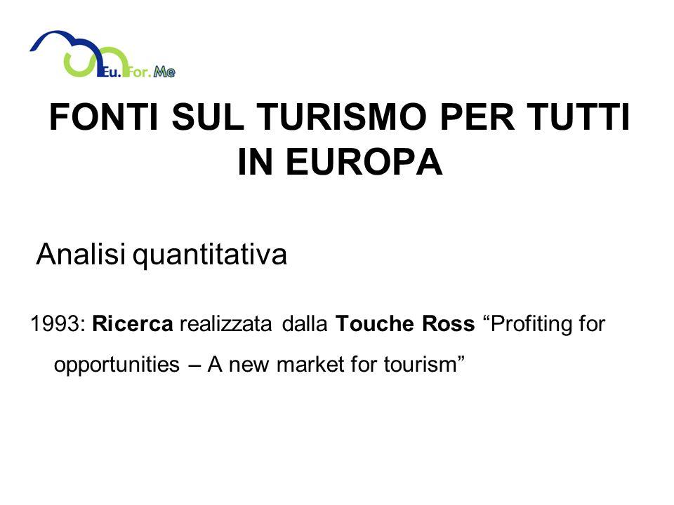 FONTI SUL TURISMO PER TUTTI IN EUROPA 1993: Ricerca realizzata dalla Touche Ross Profiting for opportunities – A new market for tourism Analisi quantitativa