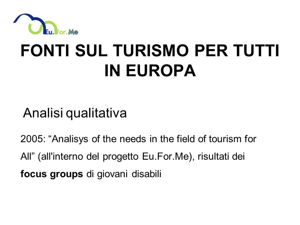 FONTI SUL TURISMO PER TUTTI IN EUROPA 2005: Analisys of the needs in the field of tourism for All (all interno del progetto Eu.For.Me), risultati dei focus groups di giovani disabili Analisi qualitativa