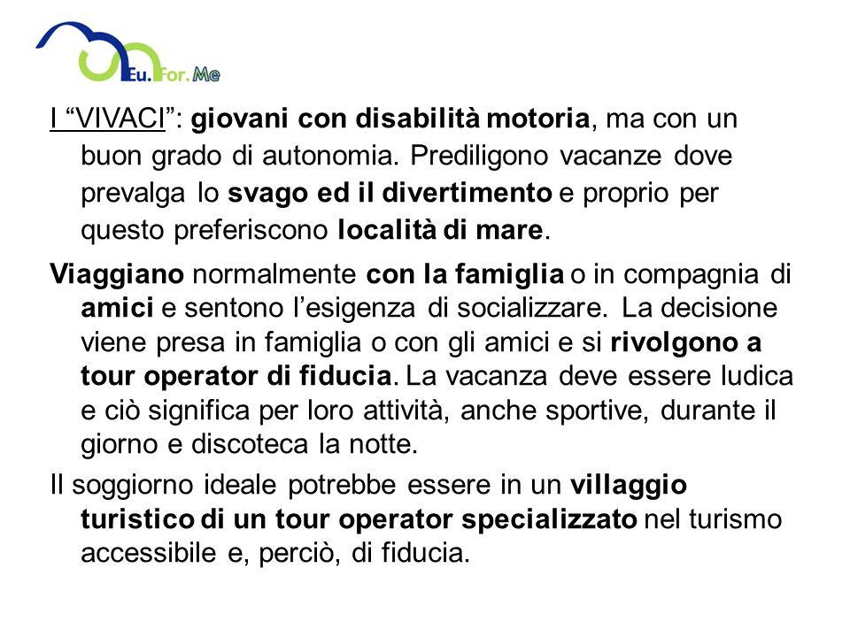I VIVACI: giovani con disabilità motoria, ma con un buon grado di autonomia.
