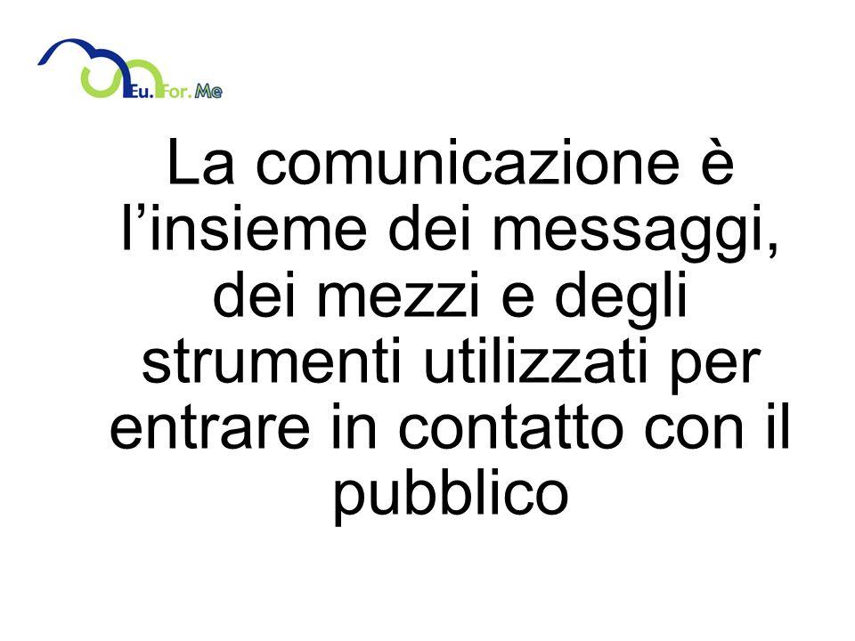 La comunicazione è linsieme dei messaggi, dei mezzi e degli strumenti utilizzati per entrare in contatto con il pubblico