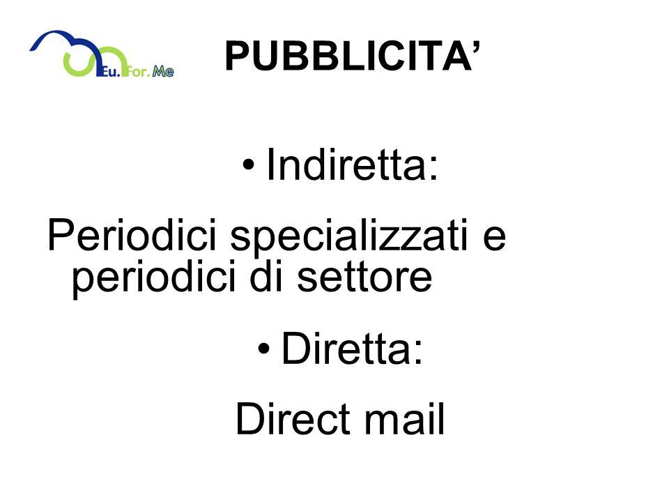 PUBBLICITA Indiretta: Periodici specializzati e periodici di settore Diretta: Direct mail