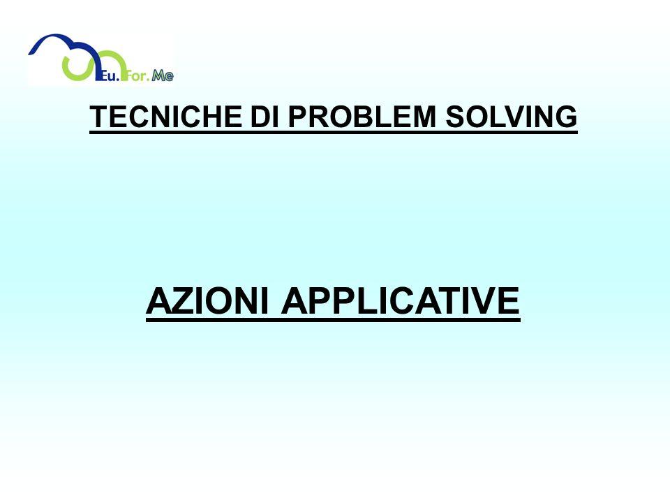 TECNICHE DI PROBLEM SOLVING AZIONI APPLICATIVE
