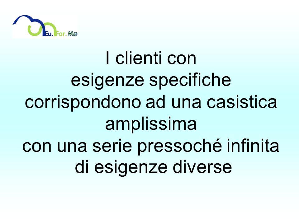 I clienti con esigenze specifiche corrispondono ad una casistica amplissima con una serie pressoché infinita di esigenze diverse