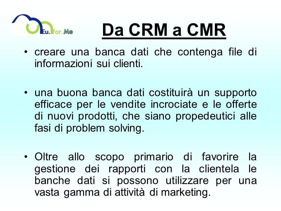 Da CRM a CMR creare una banca dati che contenga file di informazioni sui clienti. una buona banca dati costituirà un supporto efficace per le vendite