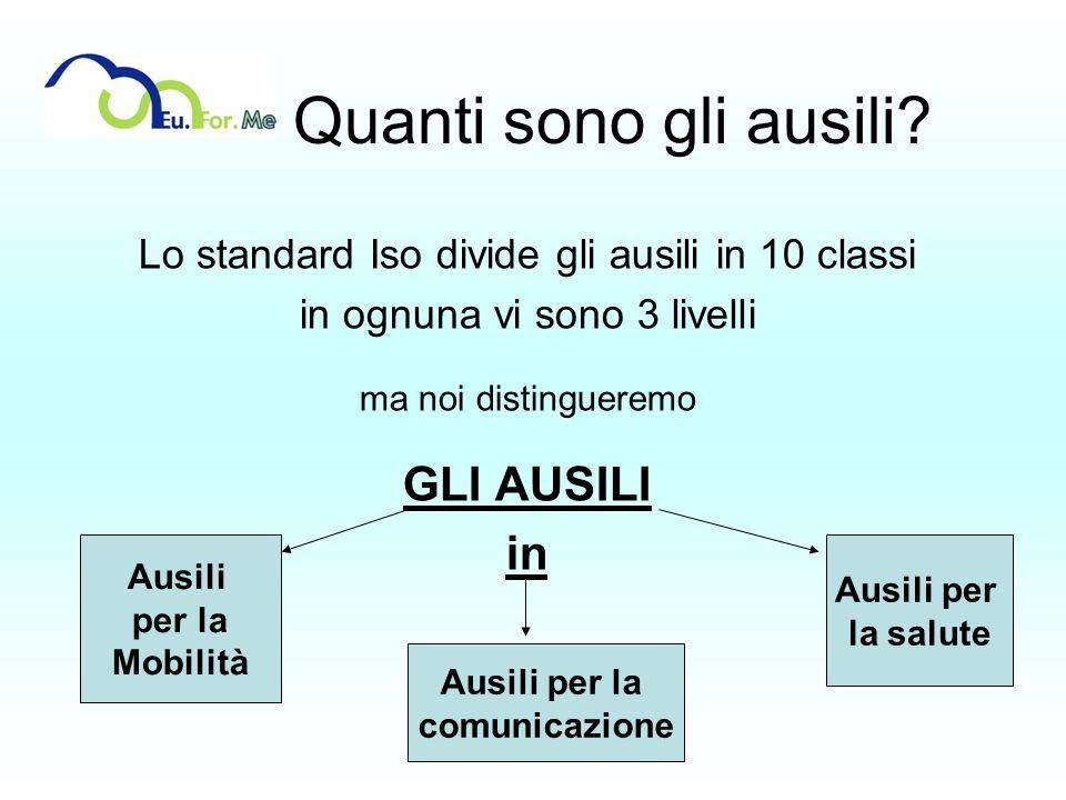 Quanti sono gli ausili? Lo standard Iso divide gli ausili in 10 classi in ognuna vi sono 3 livelli ma noi distingueremo GLI AUSILI in Ausili per la Mo