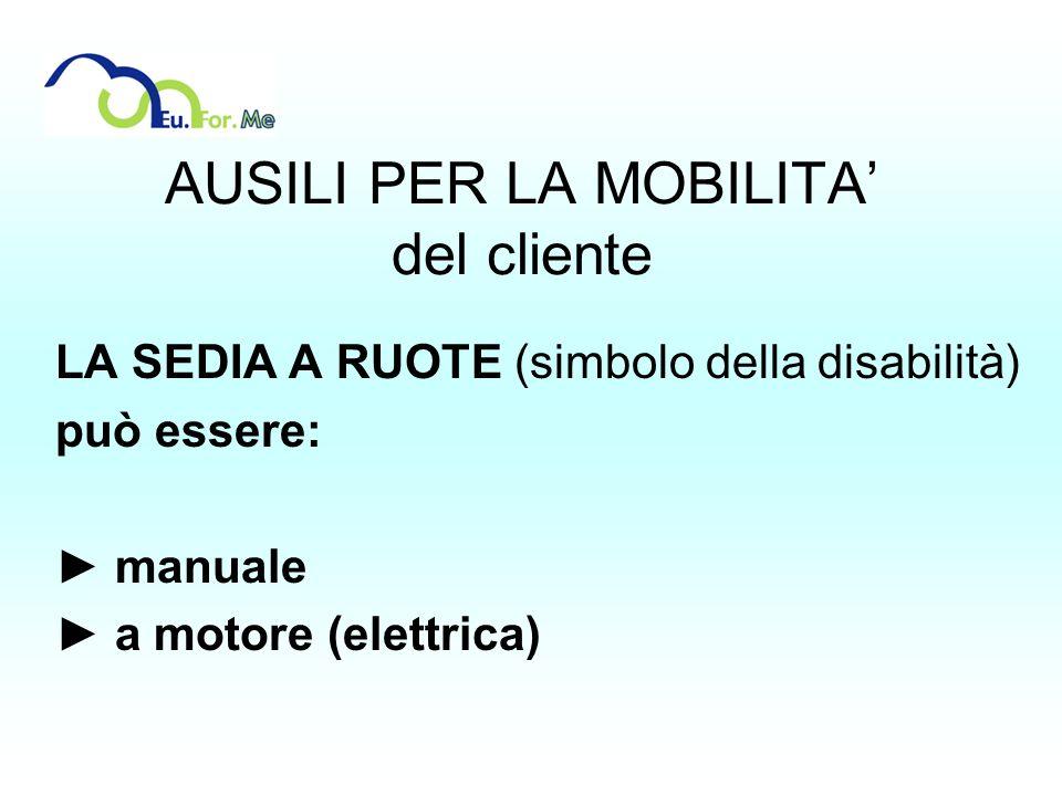 AUSILI PER LA MOBILITA del cliente LA SEDIA A RUOTE (simbolo della disabilità) può essere: manuale a motore (elettrica)