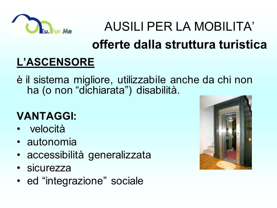 AUSILI PER LA MOBILITA offerte dalla struttura turistica LASCENSORE è il sistema migliore, utilizzabile anche da chi non ha (o non dichiarata) disabil
