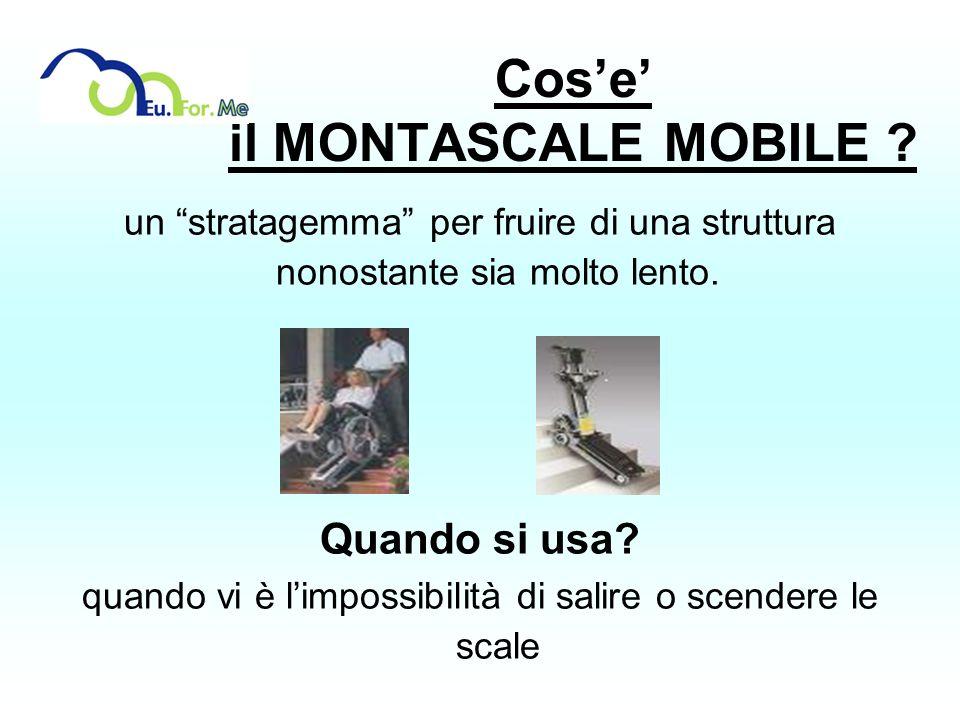 Cose il MONTASCALE MOBILE ? un stratagemma per fruire di una struttura nonostante sia molto lento. Quando si usa? quando vi è limpossibilità di salire
