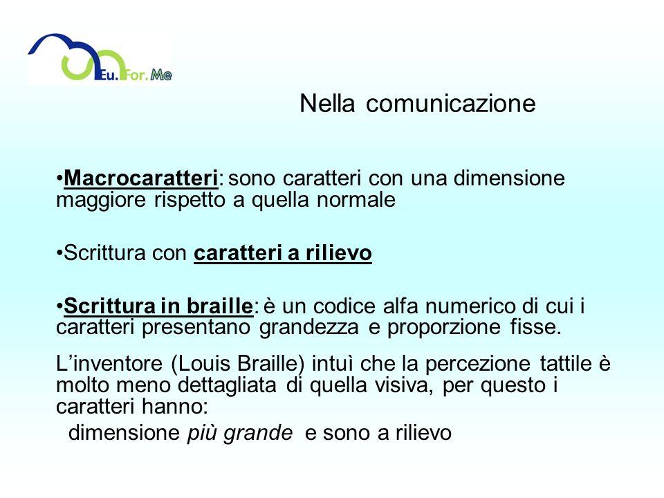 Nella comunicazione Macrocaratteri: sono caratteri con una dimensione maggiore rispetto a quella normale Scrittura con caratteri a rilievo Scrittura i