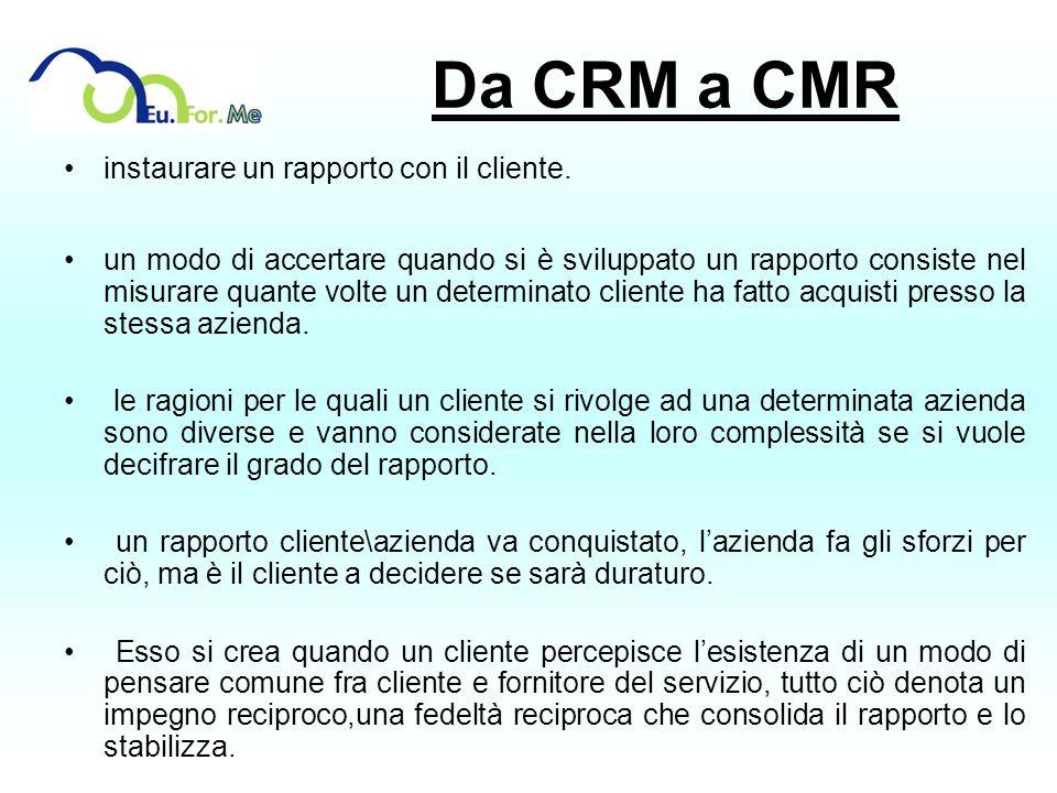 Da CRM a CMR instaurare un rapporto con il cliente. un modo di accertare quando si è sviluppato un rapporto consiste nel misurare quante volte un dete