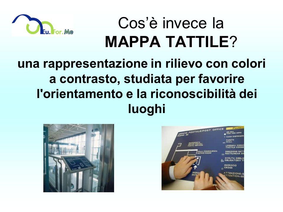 MAPPA TATTILE Cosè invece la MAPPA TATTILE? una rappresentazione in rilievo con colori a contrasto, studiata per favorire l'orientamento e la riconosc