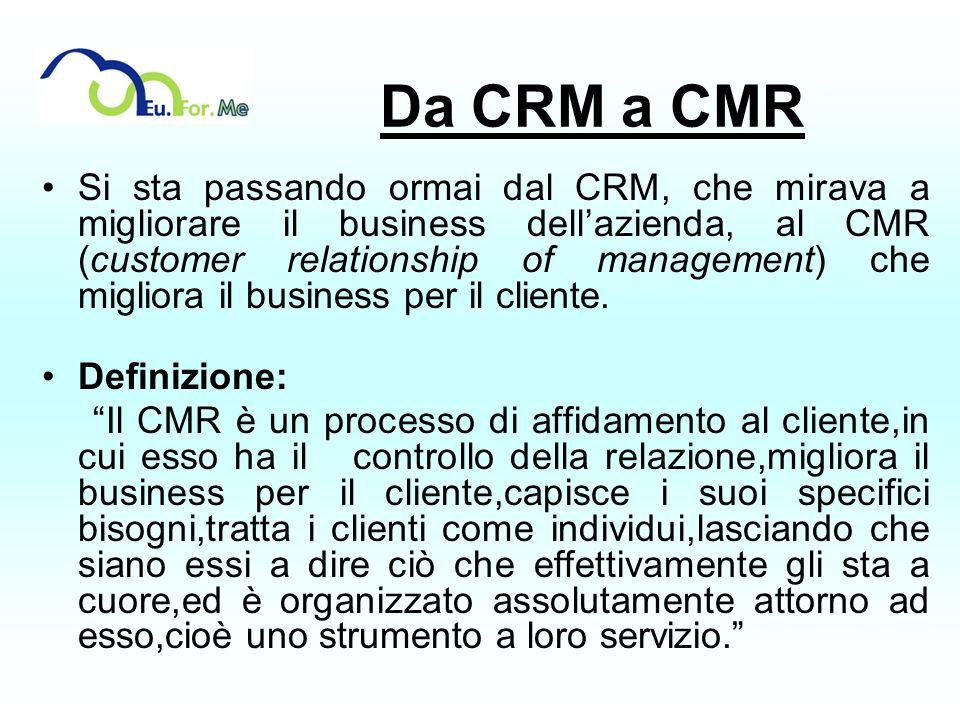 Da CRM a CMR Si sta passando ormai dal CRM, che mirava a migliorare il business dellazienda, al CMR (customer relationship of management) che migliora
