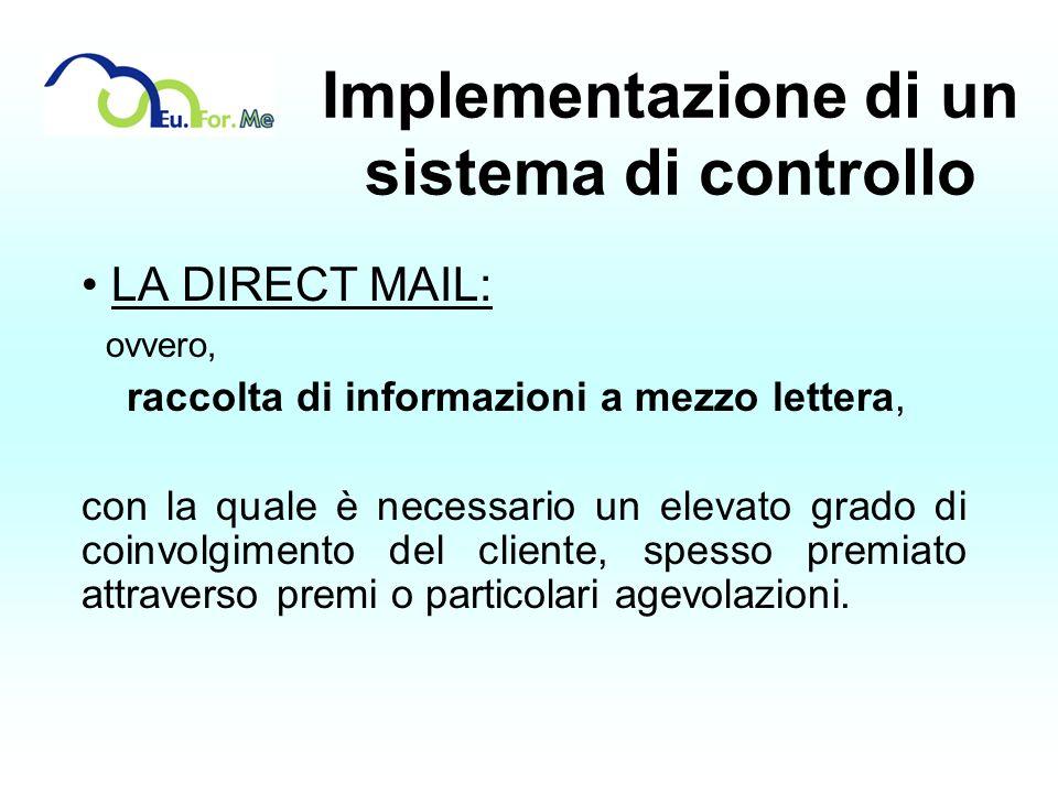 Implementazione di un sistema di controllo LA DIRECT MAIL: ovvero, raccolta di informazioni a mezzo lettera, con la quale è necessario un elevato grad