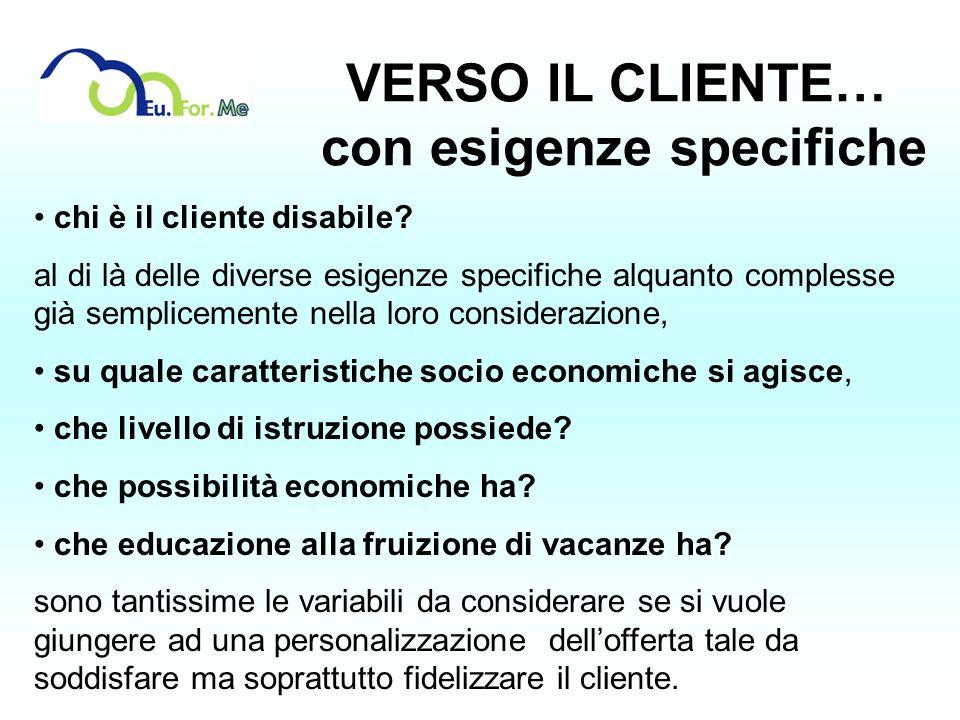 VERSO IL CLIENTE… con esigenze specifiche chi è il cliente disabile? al di là delle diverse esigenze specifiche alquanto complesse già semplicemente n