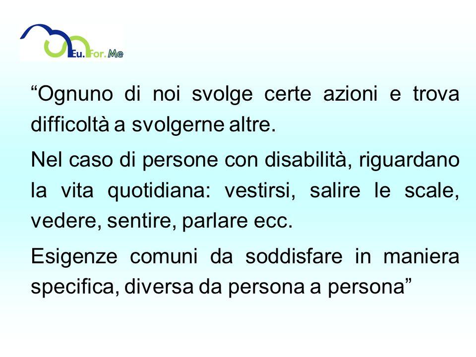 Ognuno di noi svolge certe azioni e trova difficoltà a svolgerne altre. Nel caso di persone con disabilità, riguardano la vita quotidiana: vestirsi, s