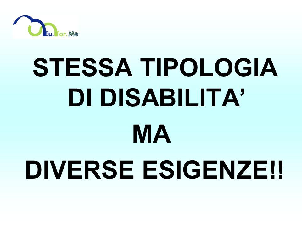 STESSA TIPOLOGIA DI DISABILITA MA DIVERSE ESIGENZE!!