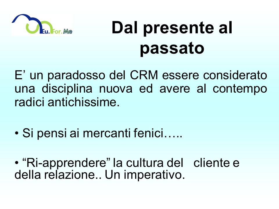 Dal presente al passato E un paradosso del CRM essere considerato una disciplina nuova ed avere al contempo radici antichissime. Si pensi ai mercanti