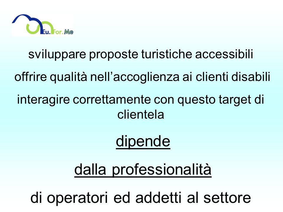 sviluppare proposte turistiche accessibili offrire qualità nellaccoglienza ai clienti disabili interagire correttamente con questo target di clientela