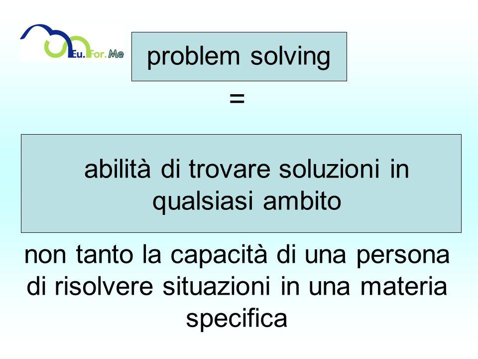 = non tanto la capacità di una persona di risolvere situazioni in una materia specifica abilità di trovare soluzioni in qualsiasi ambito problem solvi