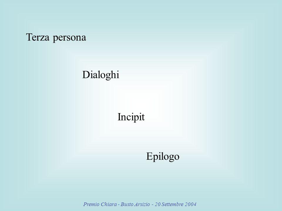Premio Chiara - Busto Arsizio - 20 Settembre 2004 Terza persona Dialoghi Incipit Epilogo