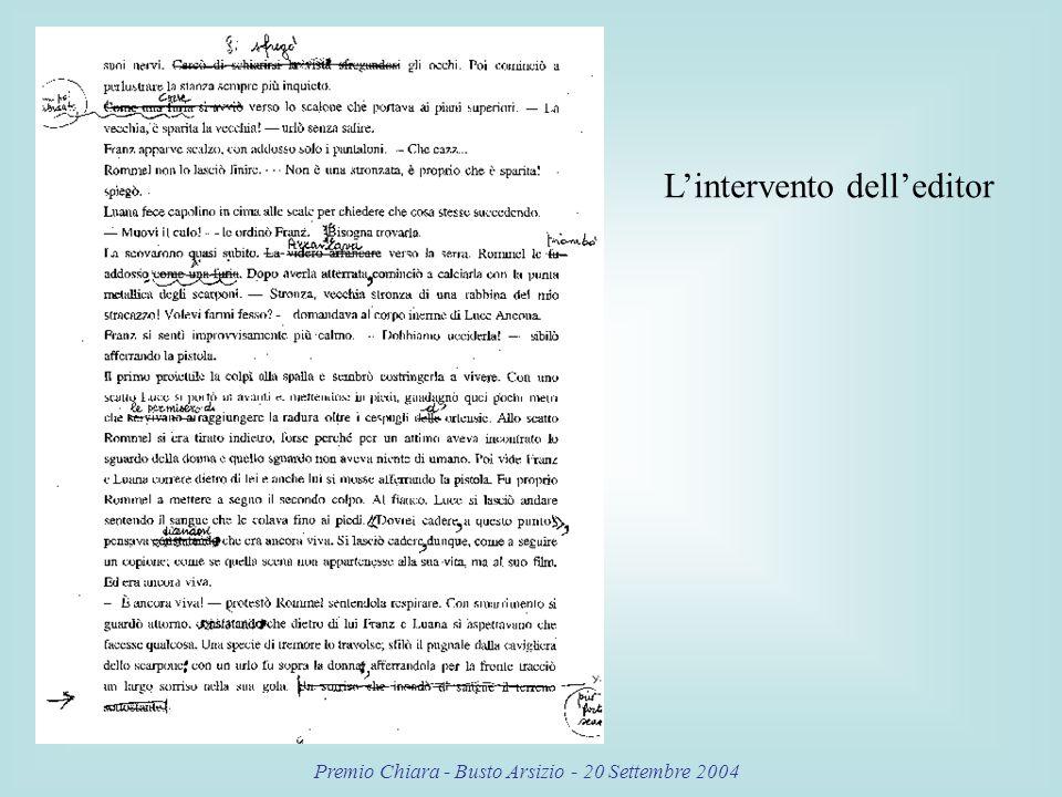 Premio Chiara - Busto Arsizio - 20 Settembre 2004 Lintervento delleditor