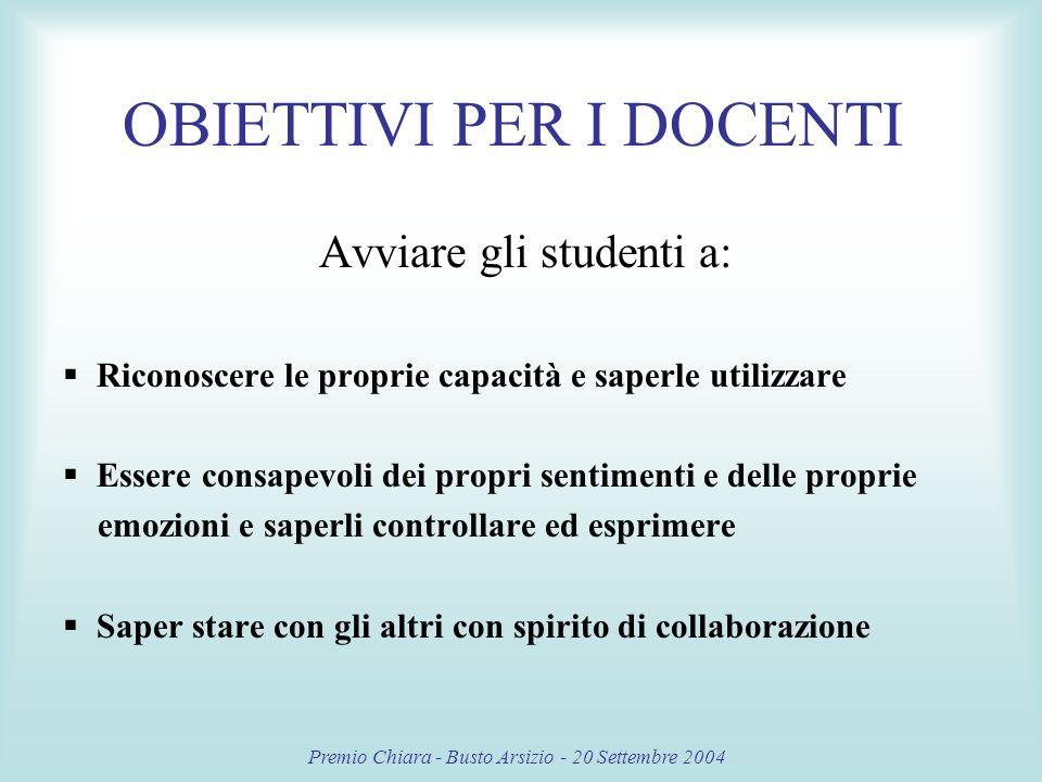 Premio Chiara - Busto Arsizio - 20 Settembre 2004 E stato un lavoro nuovo, che senza dubbio ha aiutato tutti… Credo che con questa attività abbiamo anche imparato ad apprezzare la scuola, che tanto odiamo.