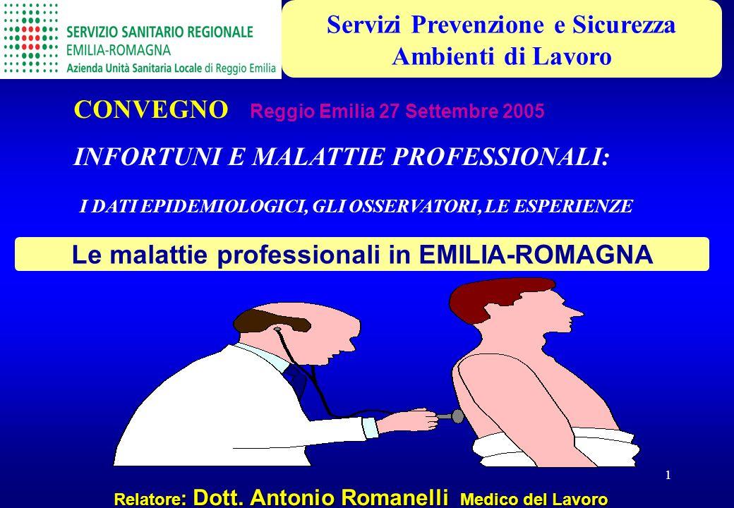 1 Relatore : Dott. Antonio Romanelli Medico del Lavoro Le malattie professionali in EMILIA-ROMAGNA CONVEGNO Reggio Emilia 27 Settembre 2005 INFORTUNI