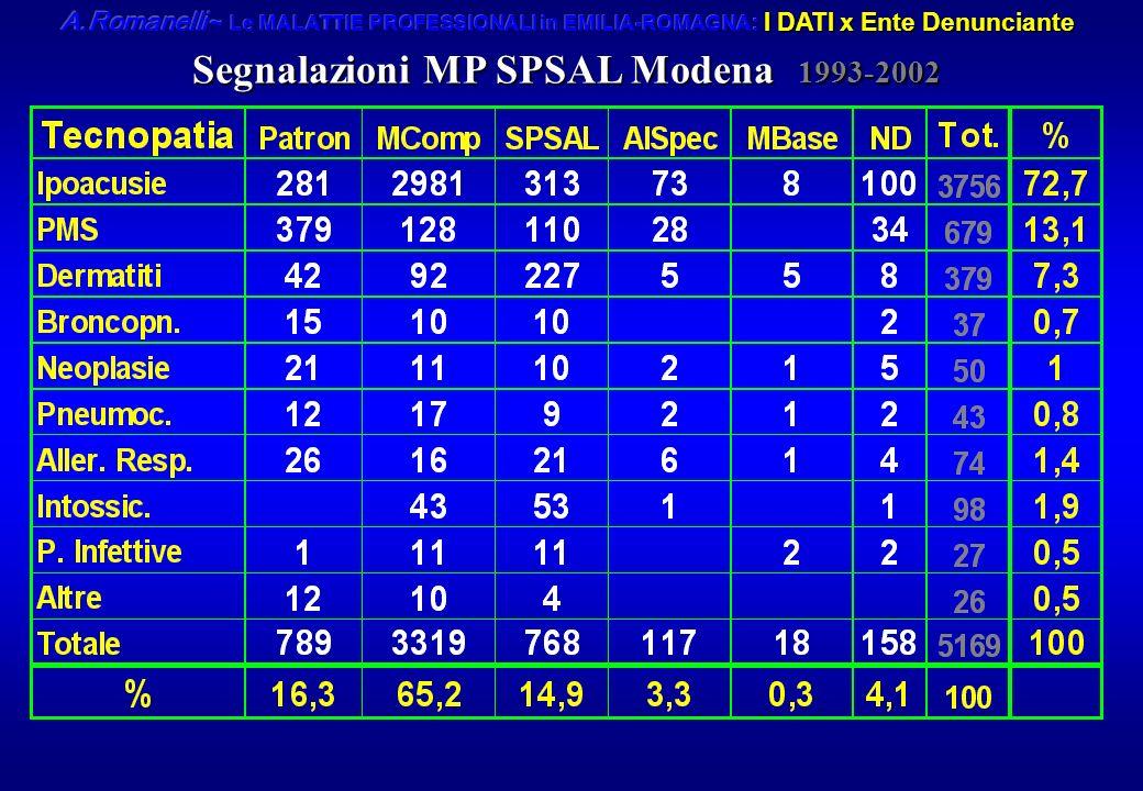 Segnalazioni MP SPSAL Modena 1993-2002